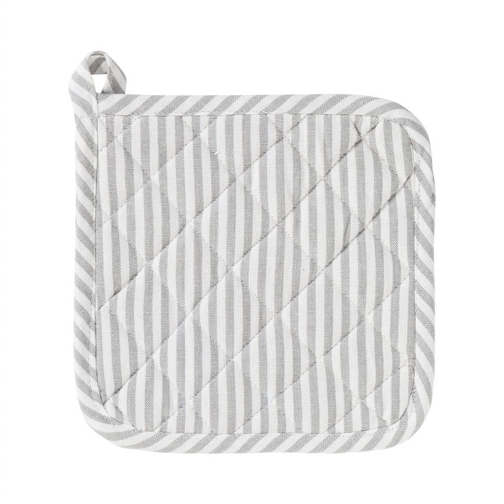Grydelap - Medium Fine Stripe - Silver Grey