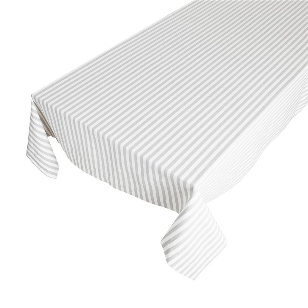 Bomuldsdug - Medium Fine Stripe - Silver Grey - 140 x 250 cm