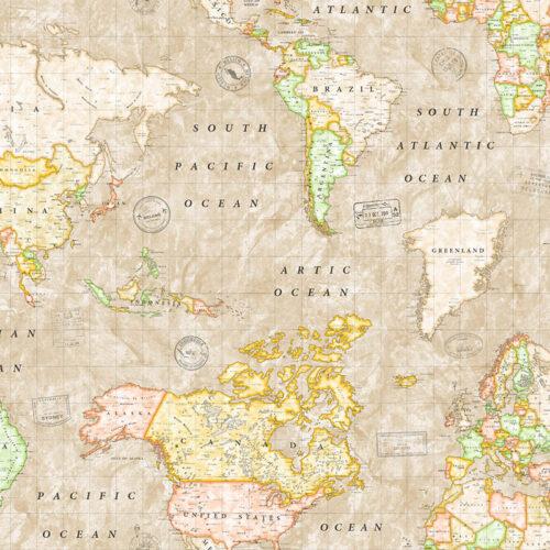 Akryldug med landkort print